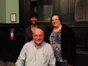 Lourdes and David Venard with an  aspiring author attending the Sisters in Crime, March 18 session.